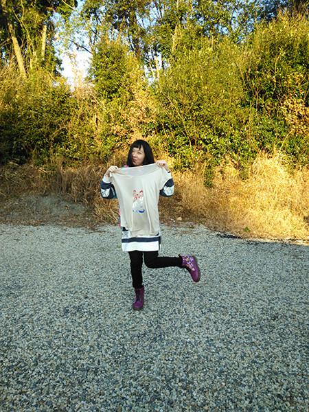 藍田もも子ちゃん ニットソーイングでTシャツ完成